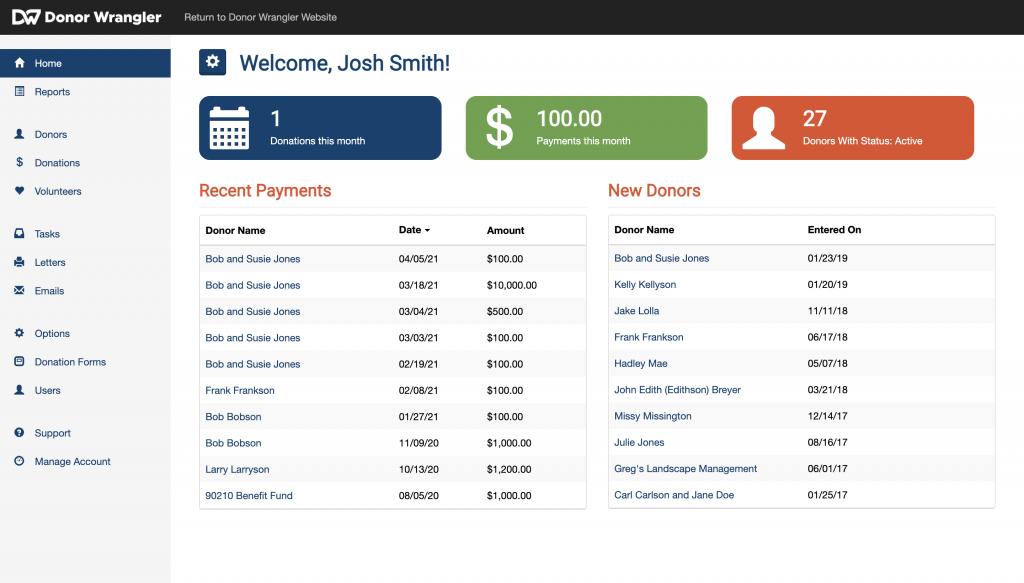 Screenshot of the Donor Wrangler dashboard