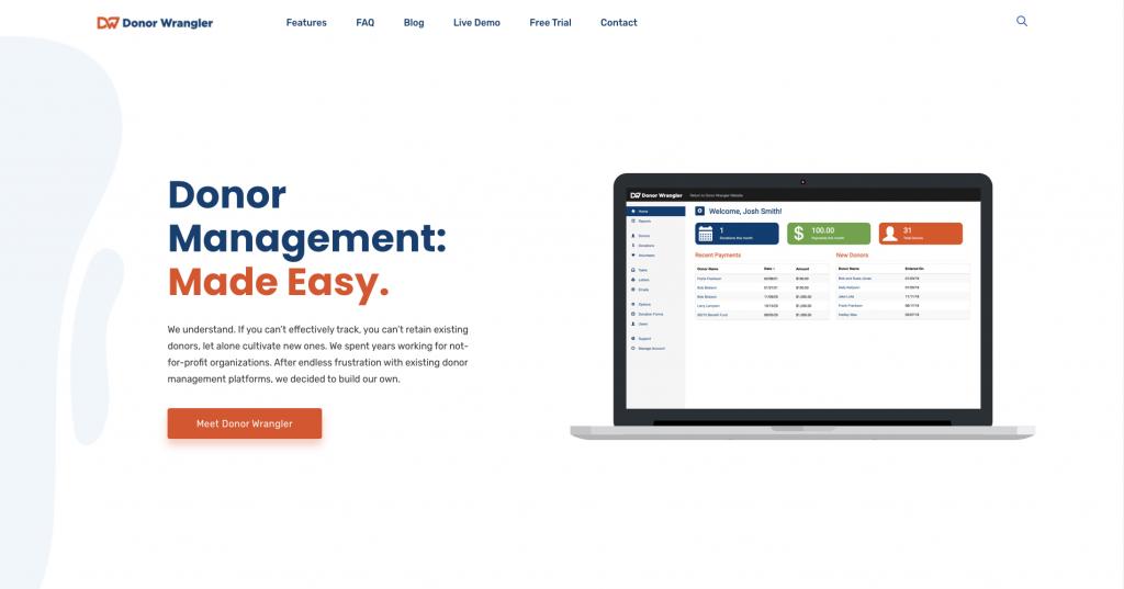 A screenshot of the Donor Wrangler marketing website