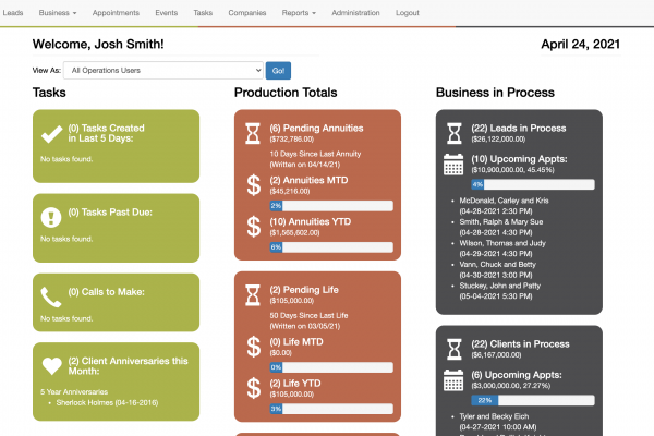 A screenshot of the financial services CRM