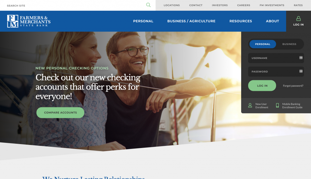 A screenshot of the Farmers and Merchants State Bank Homepage