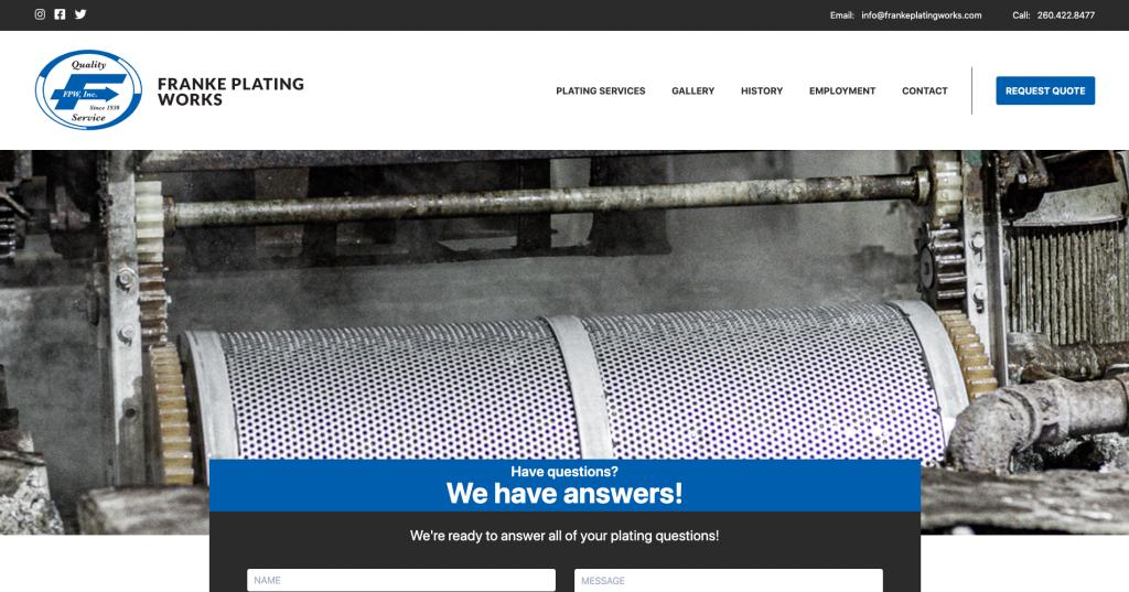 Screenshot of the Franke Plating Works site