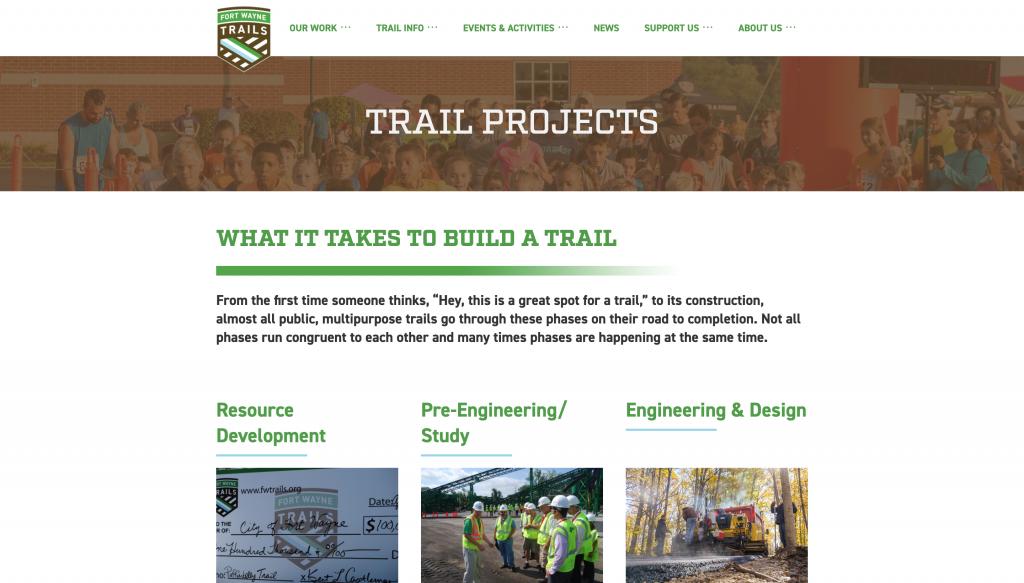 A screenshot of the Fort Wayne Trails website