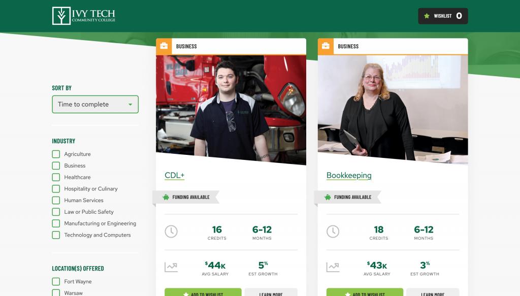 A screenshot of the Ivy Tech certificates site