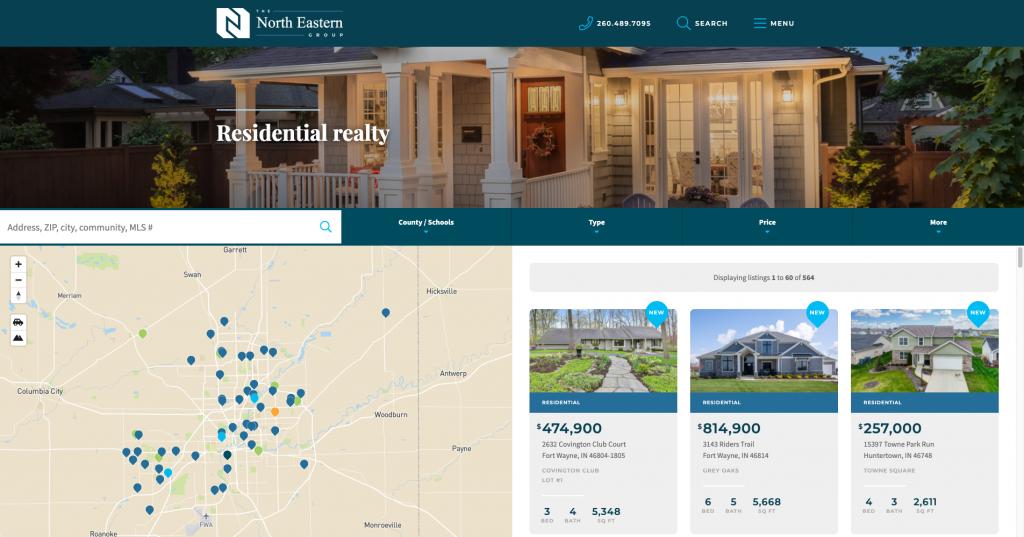 A screenshot of the Northeastern Group website