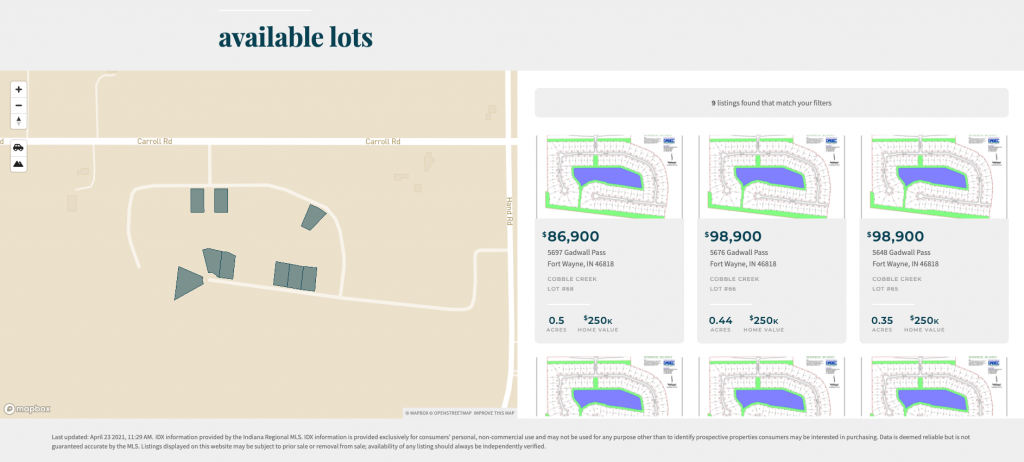A screenshot showing the outline of lots in a new development.