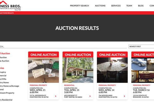 A screenshot of the Ness Bros. website