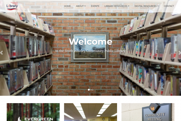 Screenshot of the South Whitley Community Public Library Homepage